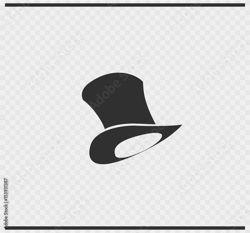 hat icon black color on transparent Poster