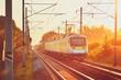Railway at the amazing sunset