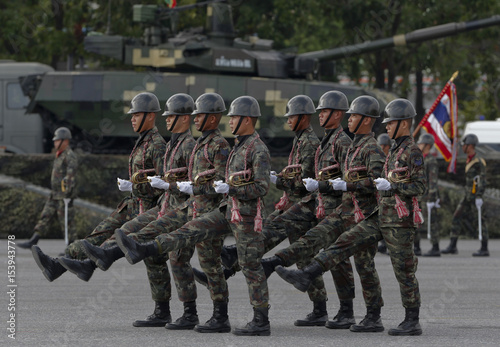 Members of the Thai army take part in Thailand's National
