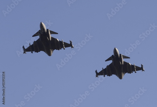 Hungarian Air Force Gripen JAS-39 fighters fly during NATO's air