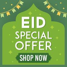 Eid Mubarak Sale Vector Illustration. Flyer, Discount, Greeting Card, Poster, Banner, Offer Of Eid Celebration.