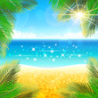 Paradise beach background with golden sand and palm leaves.