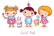 Cute cartoon girls set. Vector illustration. The girls stand with hare. The child is eating ice cream. A little girl is holding a flower in her hand. A child with a bird on his head.