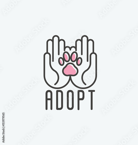 Thin line vector illustration of adopt a pet banner, new owner, domestic animal farm, hotel Canvas Print