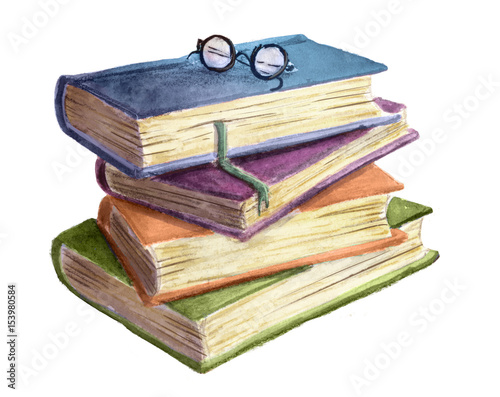 Canvastavla pila de libros en acuarela