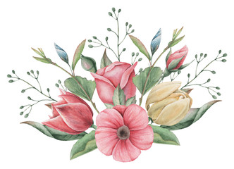 Naklejka Popularne Hand painted watercolor charming combination of Flowers and Leaves, isolated on white background.