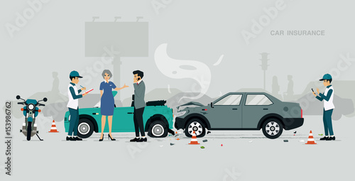 Poster de jardin Cartoon voitures Employees of car insurance companies are investigating information about road accidents.