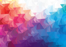 Background With Triangles In Gradient Shades Of  Orange Black White Blue Purple Pink Brown