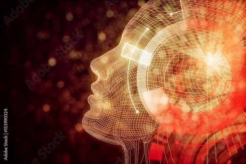 Fotografie, Obraz  Robot with digital orange brain