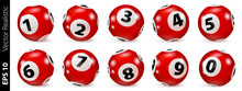 Lottery Number Balls. Bingo Balls Set. Bingo Balls With Numbers. Set Of Red Balls. Realistic Vector. Lotto Concept. Red Bingo Ball.