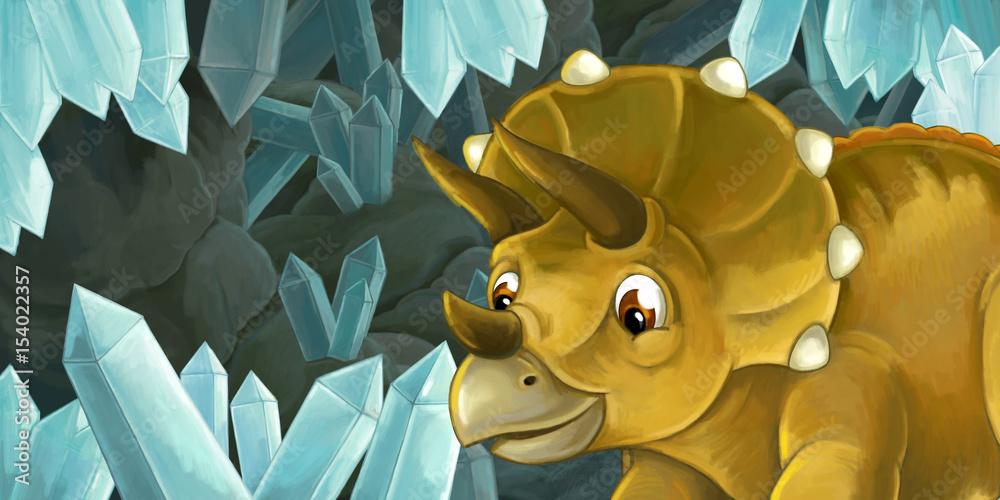 cartoon sceny jaskini z dużymi kryształami do różnych zastosowań