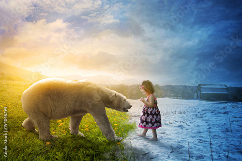 Polar bear and little girl Canvas Print