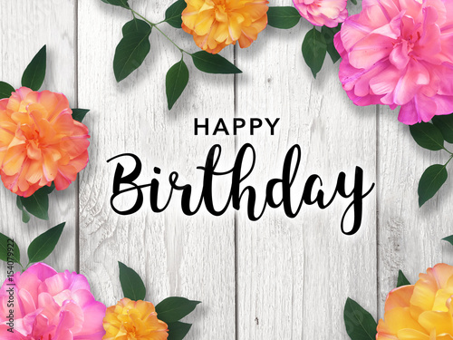Photo  Happy Birthday Card with Colorful Flower Border