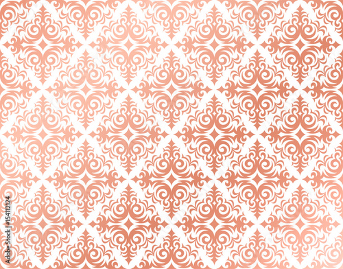 Rose Gold Background In A Damask Pattern Design Pink And Peach Feminine Colors Elegant Shiny Metal Shades Delicate Glossy Wallpaper