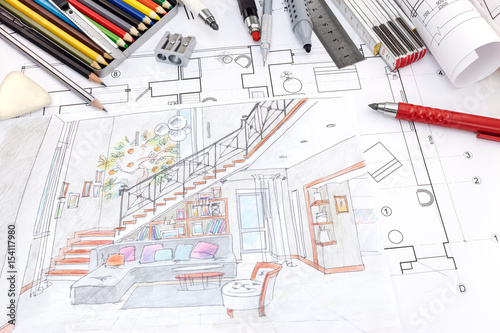 Designers Workplace With Colored Hand Painted Sketch Of A