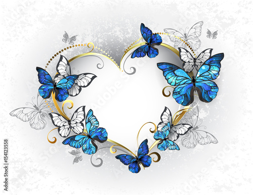 Obraz na plátně  Jewelry heart with butterflies morpho