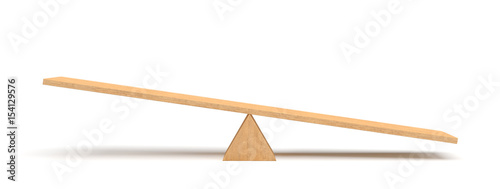 3d rendering of a light wooden seesaw with the right side leaning to the ground on white background Canvas-taulu