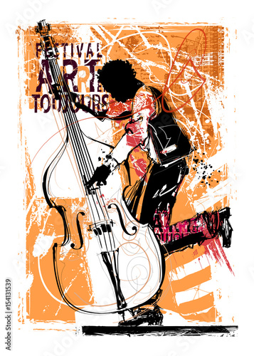 Door stickers Art Studio Double bass player
