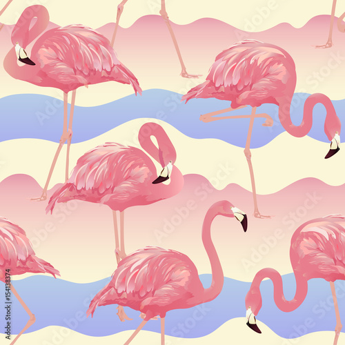 Canvas Prints Flamingo Bird Tropical Bird Flamingo Background - Seamless pattern vector