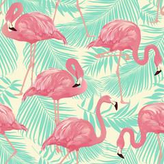 fototapeta flamingi i tropikalne palmy