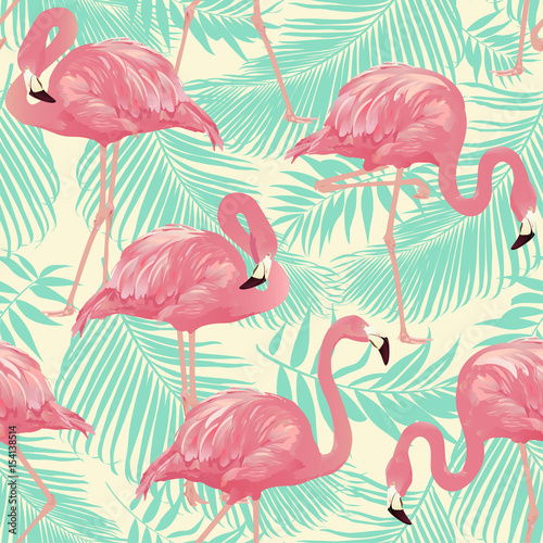 flamingo-bird-and-tropical-palm-background-wektor-bez-szwu-desen