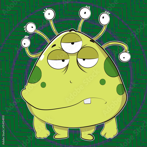 Ugly Green Alien A Scary Creature With Big Face And Tentacle Eyes