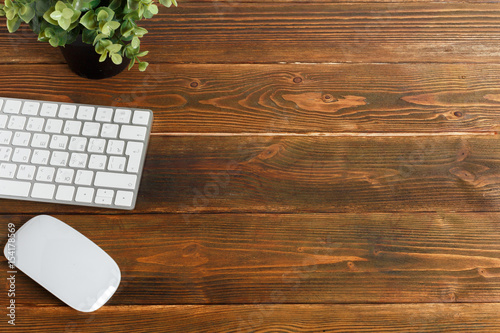 Fototapeta Modern working business desk with keyboard, mouse obraz na płótnie