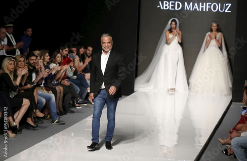 Models Display Wedding Dresses From Lebanese Designer Abed Mahfouzs Spring Summer 2016 Haute Couture Collection