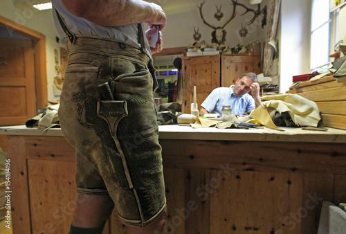 Lederhosenmacher Christian Raich Discusses Lederhosen Design With