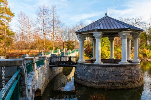 Clara Meer Gazebo and bridge over the Lake Clara Meer in the Piedmont Park in au Canvas Print