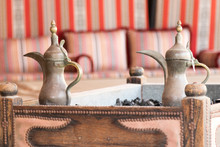 Coffee Table Detail In A Typical Arabic Tent