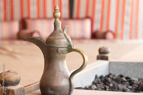 Photo Coffee table detail in a typical arabic tent