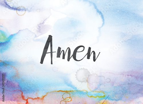 Photo Amen Concept Watercolor and Ink Painting