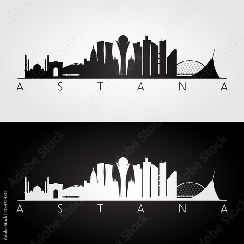 Photo Astana skyline and landmarks silhouette, black and white design.