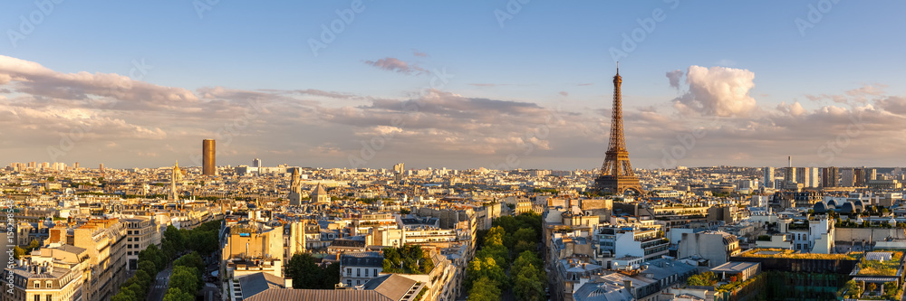 Fototapety, obrazy: Panoramic summer view of Paris rooftops at sunset with the Eiffel Tower. 16th Arrondissement, Paris, France