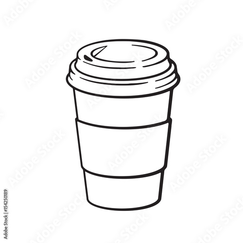 Hand Drawn Doodle Of Disposable Paper Cup With Coffee Or Tea Cartoon
