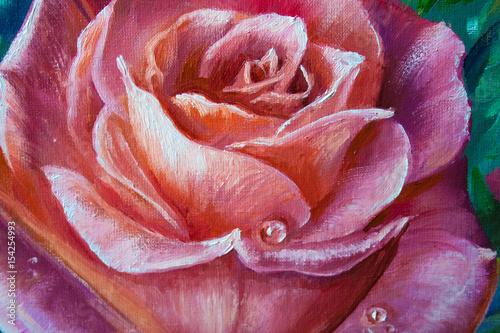 Vintage różowe róże na kartkę z życzeniami, tło, kwiatowy ilustracja obraz olejny