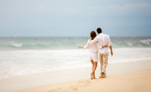 Embracing Couple Walking Along...