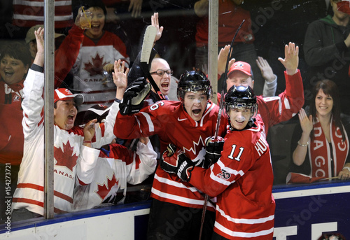 Canada S Stone Celebrates His Goal Against Team Usa With Teammate