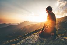 Man Relaxing At Sunset Mountai...