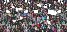 Illustration Of Crowd Protesting For Human Rights With Blank Signs And Flag
