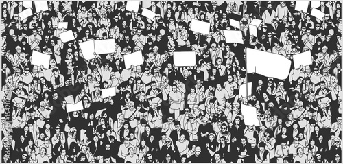 Fényképezés  Illustration of crowd protesting for human rights with blank signs and flag