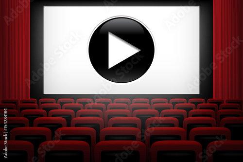 Movie Theater Background With Red Curtains Chairs White Screen And Play Symbol Vector Illustration Buy This Stock Vector And Explore Similar Vectors At Adobe Stock Adobe Stock