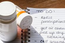 Handwritten To-do List For Refilling Prescriptions