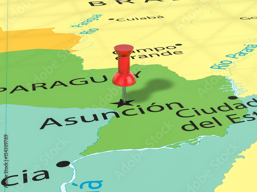 Pushpin on Asuncion map Canvas Print