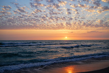 An Incredible Sunset Over The Gulf Of Mexico Seen From A Beach In Southwest Florida.