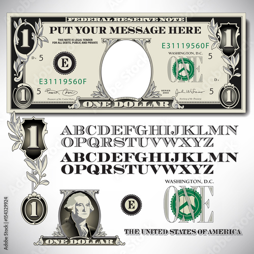 Fototapeta One dollar bill parts with an alphabet to make your own message    obraz