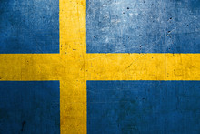 Flag Of Sweden, With An Old, Vintage Metal Texture