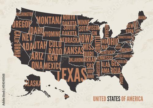 Stany Zjednoczone Ameryki mapę wydrukować plakat sztuka projektowania.