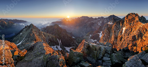 Deurstickers Chocoladebruin Wonderful scenery in mountains during summer colorful sunset in High Tatras in Slovakia